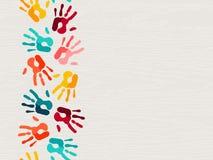 Ανθρώπινη έννοια υποβάθρου τυπωμένων υλών χεριών χρώματος απεικόνιση αποθεμάτων