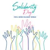 Ανθρώπινη αλληλεγγύης απεικόνιση χεριών ημέρας ζωηρόχρωμη ελεύθερη απεικόνιση δικαιώματος