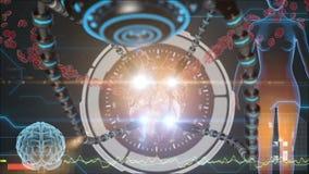 Ανθρώπινη ανατομία Ανθρώπινη καρδιά Υπόβαθρο HUD Ιατρικό ανατομικό μέλλον έννοιας διανυσματική απεικόνιση