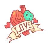 Ανθρώπινη ανατομική καρδιά με την κορδέλλα Ζωηρόχρωμη απεικόνιση κινούμενων σχεδίων απεικόνιση αποθεμάτων