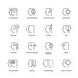 Ανθρώπινη διαδικασία μυαλού, διανυσματικά εικονίδια γραμμών χαρακτηριστικών γνωρισμάτων εγκεφάλου καθορισμένα Στοκ Φωτογραφίες