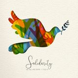 Ανθρώπινη κάρτα αλληλεγγύης του πουλιού και των διαφορετικών χεριών διανυσματική απεικόνιση