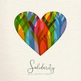 Ανθρώπινη κάρτα ημέρας αλληλεγγύης των χεριών που ενώνονται στην καρδιά ελεύθερη απεικόνιση δικαιώματος