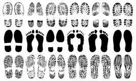 Ανθρώπινη σκιαγραφία παπουτσιών ιχνών, διανυσματικό σύνολο, που απομονώνεται στο άσπρο υπόβαθρο διανυσματική απεικόνιση