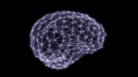 Ανθρώπινη τρισδιάστατη απόδοση περιστροφής πλέγματος τριγώνων εγκεφάλου διανυσματική απεικόνιση