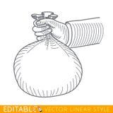 Ανθρώπινη τσάντα χρημάτων λαβής χεριών Διανυσματικός γραφικός Editable στο γραμμικό ύφος Στοκ Εικόνες