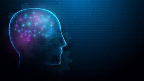 Ανθρώπινοι κεφάλι και εγκέφαλος με την έννοια τεχνητής νοημοσύνης από τις γραμμές, τα τρίγωνα και το σχέδιο ύφους μορίων διανυσματική απεικόνιση