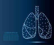 Ανθρώπινοι πνεύμονες, πολύγωνο, μπλε αστέρια 2 διανυσματική απεικόνιση