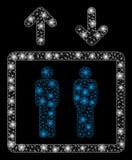 Ανθρώπινος ανελκυστήρας πλαισίων καλωδίων πλέγματος φλογών με τα σημεία φλογών απεικόνιση αποθεμάτων