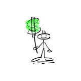 Ανθρώπινος αριθμός ραβδιών χαμόγελου σκίτσων σχεδίων χεριών με το σημάδι δολαρίων διανυσματική απεικόνιση
