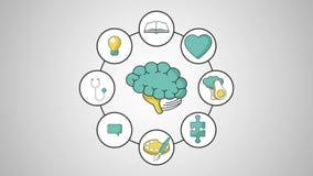 Ανθρώπινος εγκέφαλος με τον καθορισμό έννοιας HD νοημοσύνης απεικόνιση αποθεμάτων