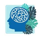 Ανθρώπινος εγκέφαλος στο κεφάλι με μορφή διανύσματος λαβύρινθων απεικόνιση αποθεμάτων