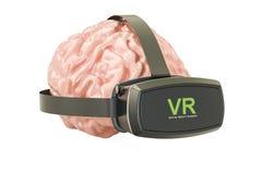 Ανθρώπινος εγκέφαλος με τα γυαλιά εικονικής πραγματικότητας, τρισδιάστατη απόδοση διανυσματική απεικόνιση
