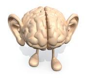 Ανθρώπινος εγκέφαλος με τα μεγάλα αυτιά και τα πόδια απεικόνιση αποθεμάτων