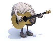 Ανθρώπινος εγκέφαλος με τα όπλα και τα πόδια που παίζουν μια κιθάρα διανυσματική απεικόνιση