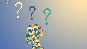 Ανθρώπινος εγκέφαλος μωσαϊκών και ζωηρόχρωμα ερωτηματικά, επιτεύγματα, προβλήματα ελεύθερη απεικόνιση δικαιώματος