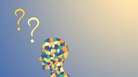 Ανθρώπινος εγκέφαλος μωσαϊκών και ζωηρόχρωμα ερωτηματικά ελεύθερη απεικόνιση δικαιώματος