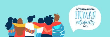Ανθρώπινο έμβλημα αλληλεγγύης του ευτυχούς αγκαλιάσματος ομάδας φίλων διανυσματική απεικόνιση