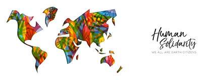Ανθρώπινο αλληλεγγύης έμβλημα χεριών παγκόσμιων χαρτών ημέρας διαφορετικό απεικόνιση αποθεμάτων