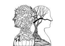 Ανθρώπινο επικεφαλής λουλούδι και ξηρό δέντρο, χέρι σχεδίου απεικόνισης ενεργειακής αφηρημένο τέχνης δύναμης πνευμάτων φθινοπώρου διανυσματική απεικόνιση
