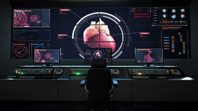 Ανθρώπινο κέντρο ιατρικής φροντίδας, κύριος θάλαμος ελέγχου, ανιχνευτική καρδιά καρδιαγγειακό ανθρώπιν&omicron ιατρική τεχνολογία απεικόνιση αποθεμάτων