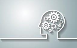 Ανθρώπινο κεφάλι με το σύνολο εργαλείων ως εργασία συμβόλων του εγκεφάλου backgroun Στοκ εικόνα με δικαίωμα ελεύθερης χρήσης