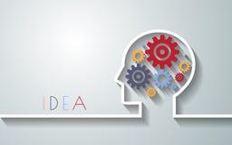 Ανθρώπινο κεφάλι με το σύνολο εργαλείων ως εργασία συμβόλων του εγκεφάλου backgroun Στοκ Εικόνες