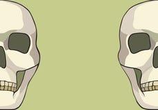 Ανθρώπινο κρανίο ή απαίσια απεικόνιση θανάτων θεριστών επικεφαλής Στοκ Εικόνες