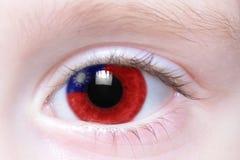 Ανθρώπινο μάτι με τη εθνική σημαία της Ταϊβάν Στοκ Φωτογραφίες