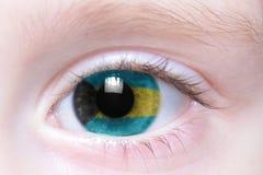 Ανθρώπινο μάτι με τη εθνική σημαία των Μπαχαμών Στοκ Εικόνα