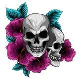Ανθρώπινο στεφάνι κρανίων και λουλουδιών Los Muertos επίσης corel σύρετε το διάνυσμα απεικόνισης διανυσματική απεικόνιση