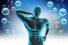 Ανθρώπινο σώμα με τον πόνο στην πλάτη απεικόνιση αποθεμάτων