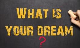 Ανθρώπινο χέρι που γράφει ποιο είναι το όνειρό σας στοκ φωτογραφίες