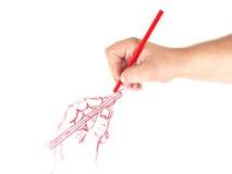 Ανθρώπινο χέρι που σύρει μια εικόνα μολυβιών Στοκ Εικόνες