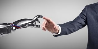 Ανθρώπινο χέρι σχετικά με το ρομποτικό χέρι τρισδιάστατη απόδοση Στοκ Φωτογραφίες
