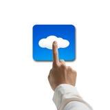 Ανθρώπινο χέρι σχετικά με app το εικονίδιο σύννεφων Στοκ φωτογραφίες με δικαίωμα ελεύθερης χρήσης