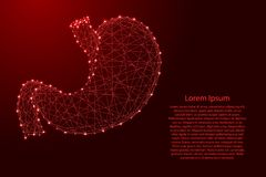 Ανθρώπινο όργανο στομαχιών από τις φουτουριστικές polygonal κόκκινες γραμμές και την πυράκτωση απεικόνιση αποθεμάτων