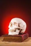 Ανθρώπινο scull και παλαιό βιβλίο Στοκ εικόνα με δικαίωμα ελεύθερης χρήσης