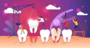 Ανθυγειινή διαδικασία αφαίρεσης δοντιών Οι μικροσκοπικοί άνθρωποι εργάζονται διανυσματική απεικόνιση