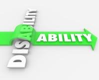 Ανικανότητα εναντίον της δυνατότητας που υπερνικά τη φυσική αναπηρία απεικόνιση αποθεμάτων