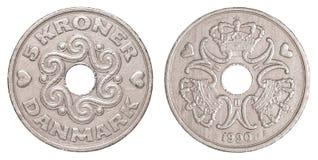 δανικό νόμισμα κορωνών 5 Στοκ φωτογραφία με δικαίωμα ελεύθερης χρήσης