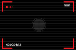 Ανιχνευτής άποψης καμερών συγκέντρωση της κάμερας οθόνης καταγραφή Τηλεοπτικό διάνυσμα οθόνης Στοκ Εικόνα