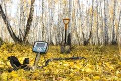 Ανιχνευτής μετάλλων στα κίτρινα φύλλα στο δάσος φθινοπώρου στοκ εικόνες