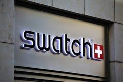 Αννόβερο/Γερμανία - 11/13/2017 - μια εικόνα ενός swatch λογότυπου - swatch κατάστημα Στοκ εικόνα με δικαίωμα ελεύθερης χρήσης