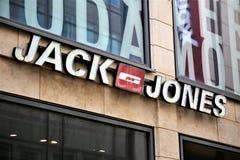 Αννόβερο/Γερμανία - 11/13/2017 - μια εικόνα του Jack και ενός λογότυπου του Τζόουνς Στοκ φωτογραφία με δικαίωμα ελεύθερης χρήσης
