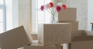 Ανοίγοντας κιβώτια στο νέο σπίτι και την τακτοποίηση των πραγμάτων στην κουζίνα, μεγάλα κουτιά από χαρτόνι στο νέο σπίτι Κίνηση π απόθεμα βίντεο