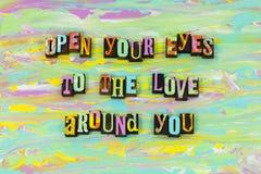 Ανοίξτε τη ζωή αγάπης ματιών σας ζωντανή απολαμβάνει θεωρεί letterpress τον ελεύθερη απεικόνιση δικαιώματος