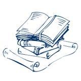 Ανοιγμένα και κλειστά βιβλία και κύλινδρος στο λευκό Στοκ φωτογραφίες με δικαίωμα ελεύθερης χρήσης