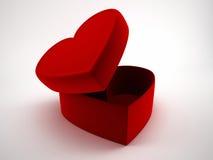 Ανοιγμένα κιβώτια δώρων καρδιών με την κορδέλλα και το τόξο Αγάπη, ημέρα του βαλεντίνου, ένα κιβώτιο των σοκολατών Στοκ Φωτογραφία
