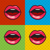 Ανοιγμένα κόκκινα προκλητικά χείλια με τη γλώσσα και τα δόντια Στοκ εικόνα με δικαίωμα ελεύθερης χρήσης